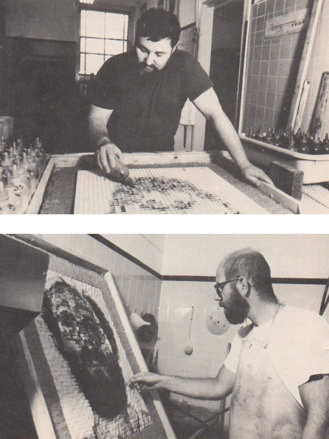 "A familiar image takes a new form in a 1982 collaboration between (top) Joe Wilfer and (bottom) Chuck Close.  ""I love the physicality of pushing the pulp,"" says Close.  It's like making a pizza."""