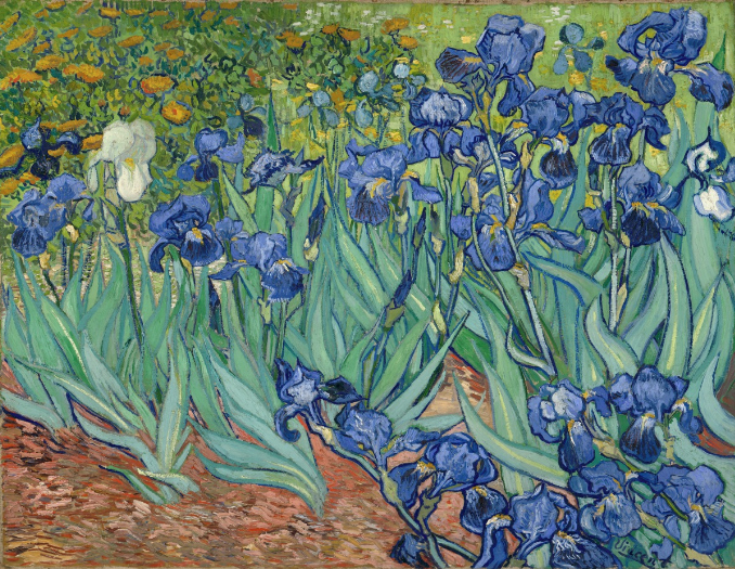 """Irises"", Vincent van Gogh, 1889, Oil on canvas, 74.3 x 94.3 cm (29 1/4 x 37 1/8 in.), image courtesy the Getty Museum"