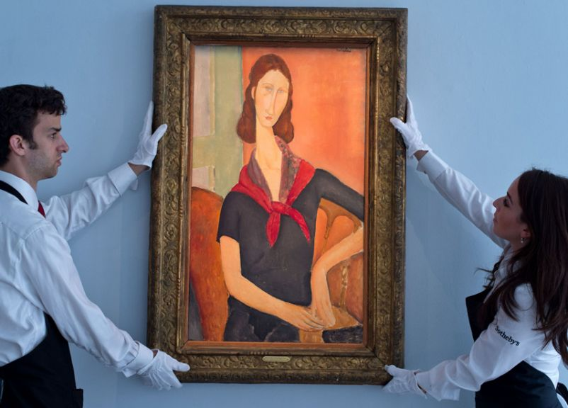 """Amedeo Modigliani """"Jeanne Hébuterne (au foulard),"""" 1919, oil on canvas, 36 1/4 x 21 1/4 in., Estimate Upon Request, Courtesy Sotheby's / © Getty Images 2016"""