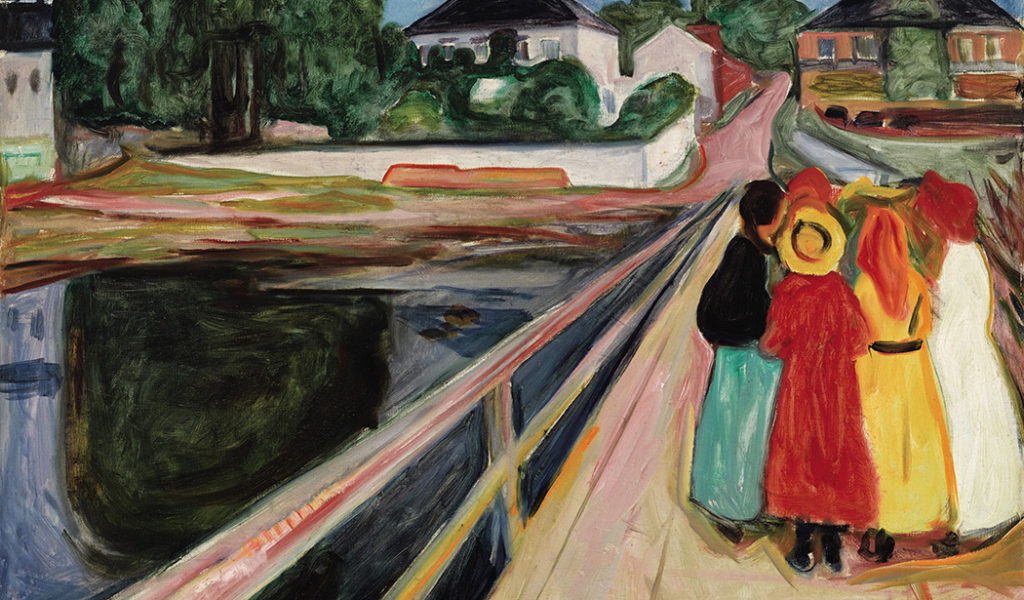 "Detail of Edvard Munch's ""Girls on the Bridge,"" 1902, sold for $54.5 million (Sotheby's)"