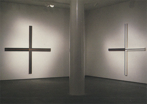 Instruction Sheet, acrylic on canvas, 108.5 x 108.5 inches, 1997 (left), Tunic, acrylic on canvas, 108.5 x 108.5 inches, 1997 (right)