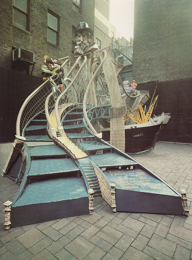 Brooklyn Bridge section of the Manhattan Ruckus installation by Red Grooms, 1976