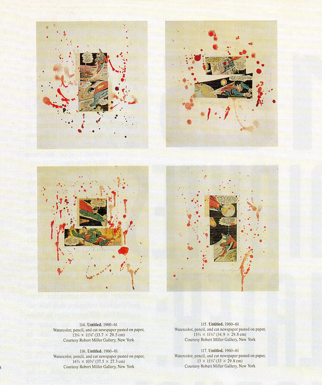 A page from the catalog of Warhol's 1989 show at the MOMA shows four of seven collages that turned out to be fakes.