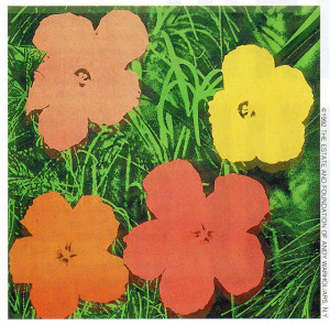 Flowers, 1966, one of about 900 pieces Warhol made of the subject.  They are his most commonly faked works.