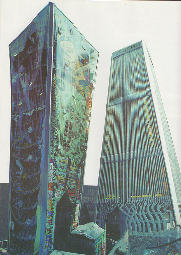 Twin Towers section of Manhattan Ruckus installation by Red Grooms, 1976.