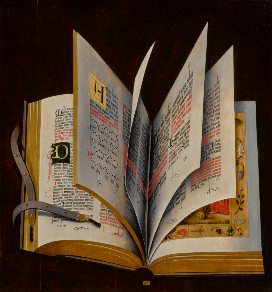 Netherlandish School, Still Life of an Illuminated Manuscript.