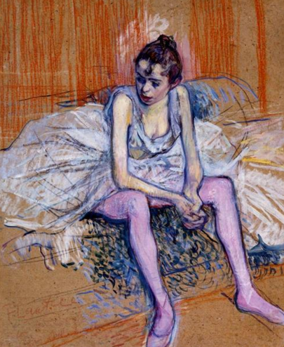 """Henri de Toulouse-Lautrec, """"Seated Dancer In Pink Tights"""", 1890"""