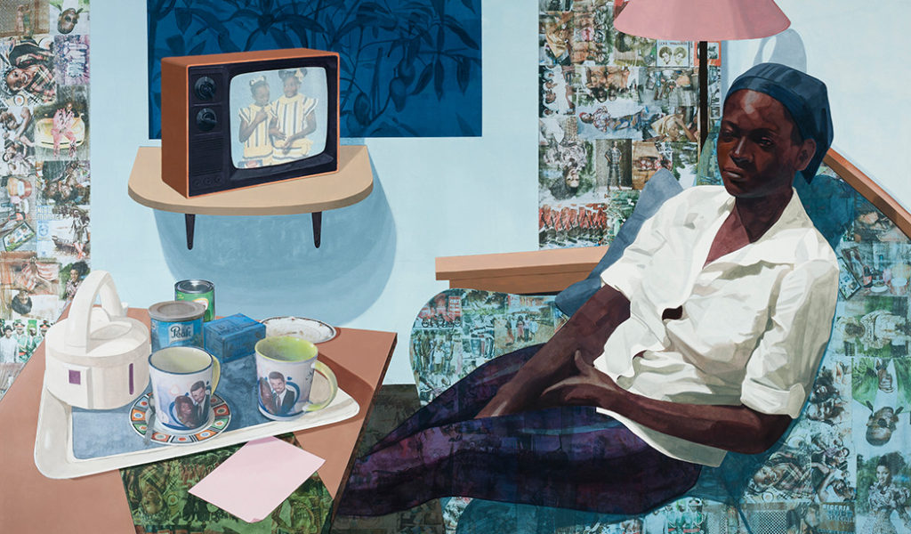 """Njideka Akunyili Crosby's """"Super Blue Omo"""" (2016) sold at Victoria Miro to an undisclosed American museum. (Courtesy the artist and Victoria Miro, London / © Njideka Akunyili Crosby)"""