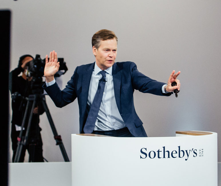 The unprecedented and surreal event was orchestrated by Sotheby's auctioneer Oliver Barker