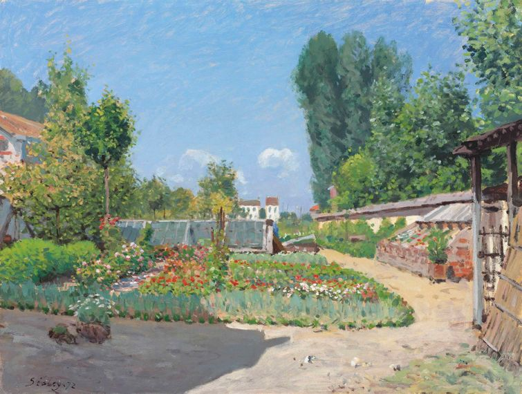 Alfred Sisley (1839-1899), Le potager, signed and dated 'Sisley. 72' (lower left), oil on canvas, 19 ¾ x 25 7/8 in. (50.2 x 65.7 cm.), Painted in 1872, Estimate: £1,500,000 - 2,000,000