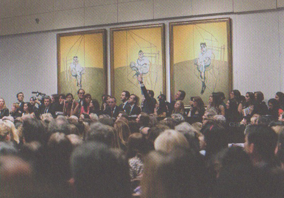 The auction of Francis Bacon's Three Studies of Lucian Freud, 1969, oil on canvas, November 12, 2013, Christie's, New York
