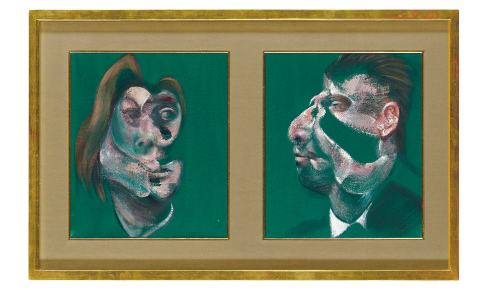 "Francis Bacon's ""Study for Head of Isabel Rawsthorne and George Dyer,"" 1967, was the evening's top lot at £12,178,500/$19,108,067 (Christie's)"