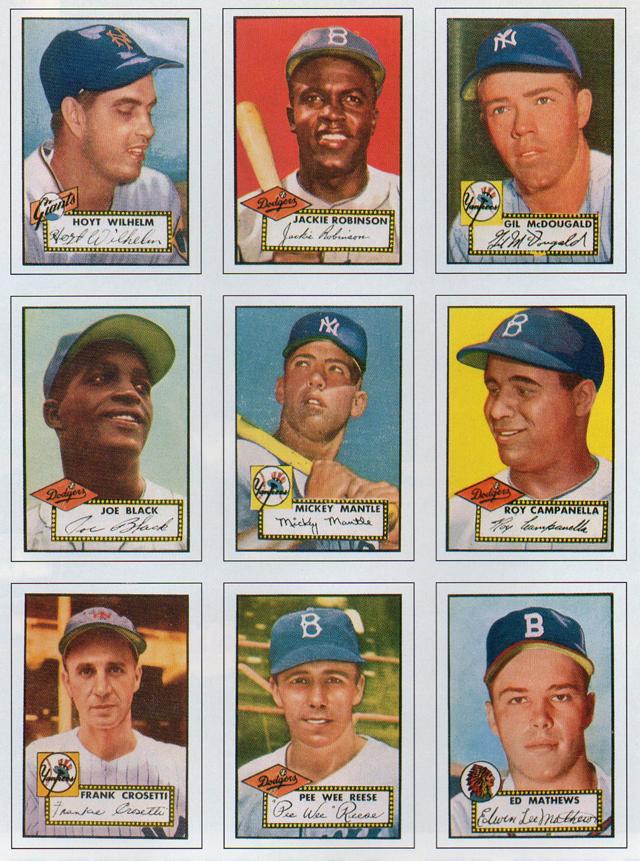 A brace of major-player baseball cards from 1952 season.