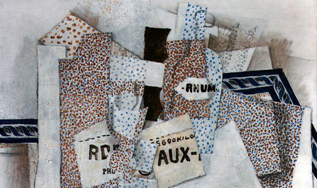 "Detail of Georges Braque's ""Bouteille de rhum (Bottle of Rum),"" 1914 (Leonard A. Lauder Cubist Collection; 2013 Artists Rights Society (ARS), New York/ADAGP, Paris)"