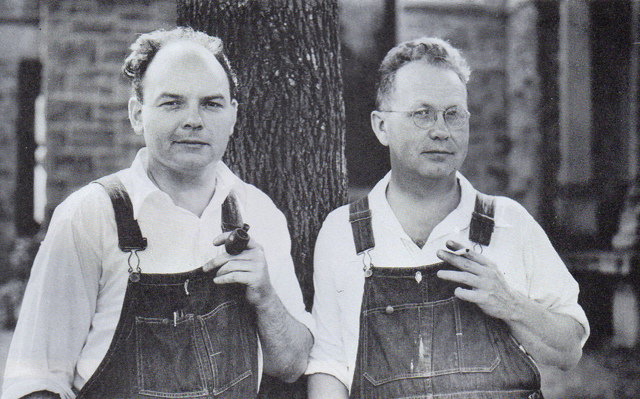 John Stewart Curry (left) and Grant Wood (right), with Thomas Hart Benton led the regionalist movement in American painting.