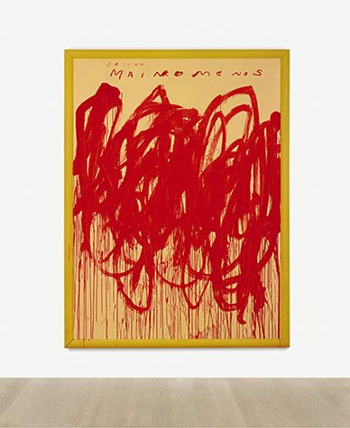 Cy Twombly, Untitled (Bacchus 1st Version V), 2004, Acrylic, oilstick, and wax crayon on wood panel, 104 3/4 x 79 in., Sothebys