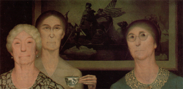 Daughters of the Revolution (1932, oil on masonite panel).  Wood takes a humorous look at these prim, tea sipping patriots.