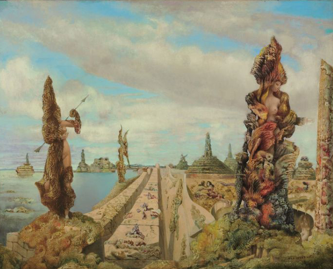 """Max Ernst, """"The Stolen Mirror"""", signed 'max ernst' (lower right); signed again, dated and inscribed 'max ernst' 1941 product of France' (on the reverse), oil on canvas, 25 5/8 x 31 7/8 in. (65 x 81 cm.) Painted in 1941"""