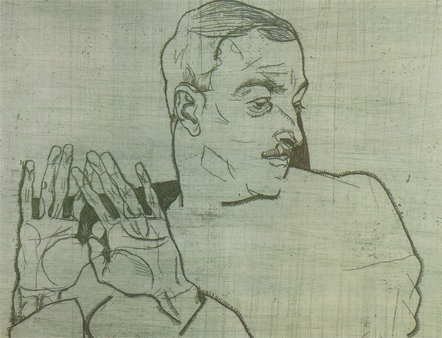 Portrait of Arthur Roessler (1914).  Roessler was an early biographer of the artists and the first to recognize Schiele's talent