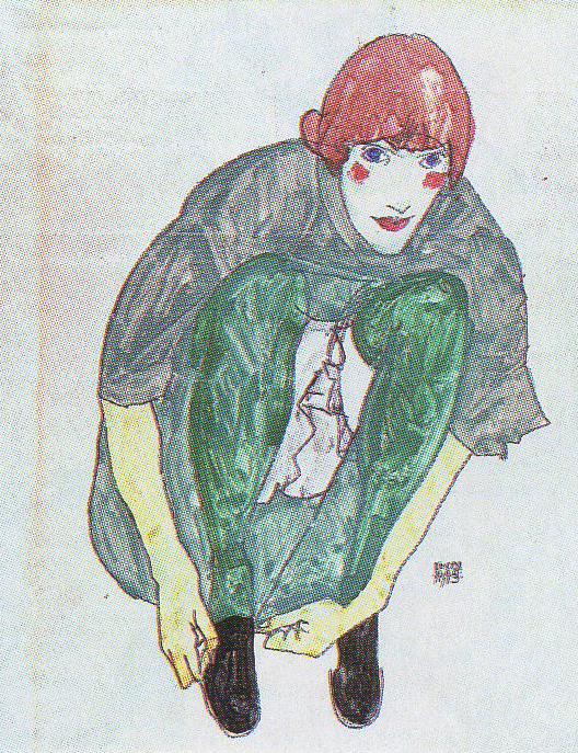 Squatting Woman (Portrait of Wally Neuzil), painted in 1913, Neuzil was Scheile's lover and favorite model, aside from his sister Gertrude.