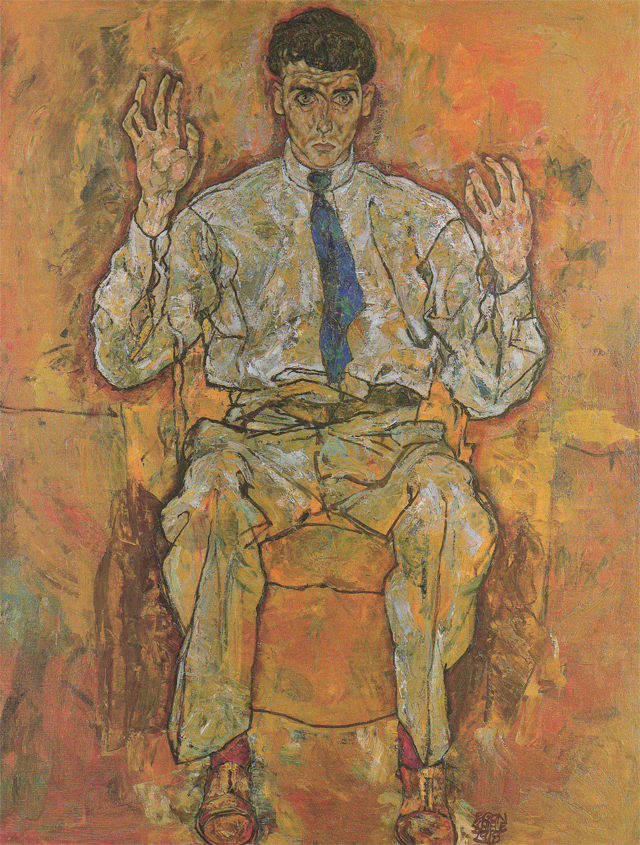 The famous portrait of the painter Paris von Gütersloh (1918). Schiele's indelible black signature anchors the image at the foot of Paris's tie shoes.