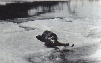 During filming, Lillian Gish almost lost her life.  With crew members in horror she drifted toward the falls, her hair frozen to the ice flow. Just in time she was lifted free and escaped.  photo credit: MOMA Film Still Archives