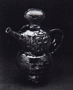 Teapot, Beatrice Wood, 1990. Earthenware; 13 inches high.  Wood's interest in ceramics was inspired in 1933 by here desire to matching teapot for a set of luster plates shes has purchased.  Over the decades, the teapot has become a favorite vehicle for her singular vision. Image courtesy Garth Clark Gallery, New York.