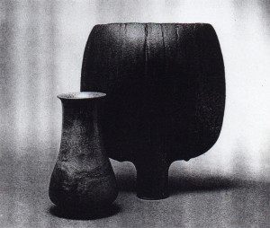 """Vase, Otto and Gerturd Natzler, 1962, Ceramic, 6.5 inches high.  Open Disk Form, Otto Natzler, 1984, Ceramic; 11 inches high.  Renowned for their technologial expertise, the Natzlers began an artitistc collaboration in the early 1930's  that contiuned until Gertruds death in 1971.  Gertrud would throw the clay while Otto, """"the mater of glaze,"""" refined the color and texture of each surface.   Five years after gertrud's death, Otto resumed work, creating a more sculptureal type pof vessel.  Images courtesy Newman galleries, Beverly Hills."""