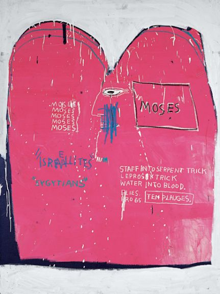 """Jean-Michel Basquiat """"Moses and the Egyptians,"""" 1982, Acrylic and oilstick on canvas, 73 x 54 in (185 x 137 cm), Guggenheim Bilbao Museoa; Gift of Bruno Bischofberger, Zurich. © The Estate of Jean-Michel Basquiat / Licensed by Artestar, New York"""