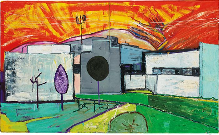 Martin Kippenberger, Untitled, 1984, oil, silicone on canvas, 48 x 78 3/4 in. (121.9 x 200 cm) , Sold for $2.345,000