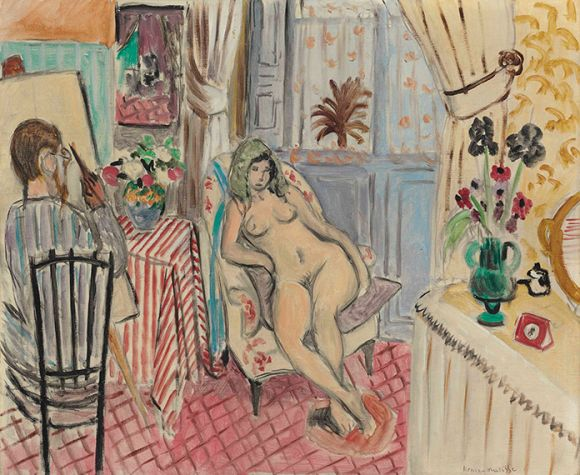 Henri Matisse, L'artiste et le modèle nu (1921), Oil on canvas 23 5/8 x 28 3/4 in. (60 x 73 cm.)