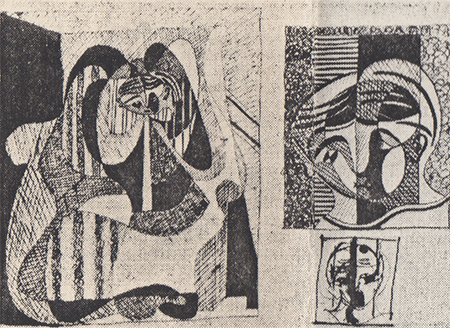 m a page of ink drawings in one of Picasso's sketchbooks
