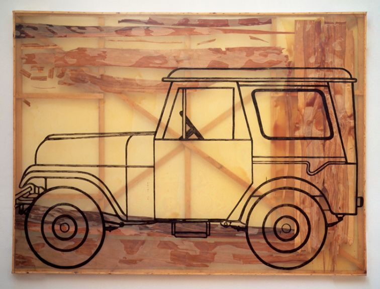 David Zwirner Gallery, Sigmar Polke, Auto (Jeep) (Car [Jeep]), 1992, Wood veneer, artificial resin, and acrylic paint on polyester, 88 9/16 x 118 1/8 in., (225 x 300 cm.) Photo: Wolfgang Morell © The Estate of Sigmar Polke/VG Bild-Kunst, Bonn/Artists Rights Society (ARS), New York/DACS, London. Courtesy David Zwirner, New York/London