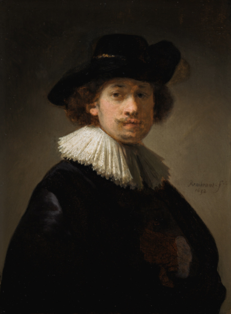 rembrant_self-portrait of the artist, half-length, wearing a ruff and a black hat