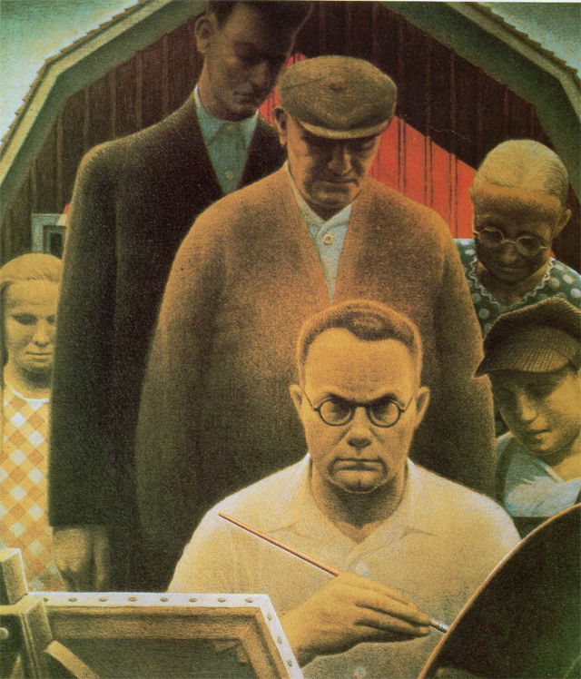 """Return from Bohemia"" (1935, colored crayon, goahce, pencil on paper). In this self portriat, Grant Wood sits at his easel surrounded by American Gothic type characters like the ones that appear in many of his paintings. after four trips to Europe in the 1920's, Wood settled in Iowa, developing his unique style. ""American Gothic"" painted five years earlier, propelled him to national attention.  ""Return from Bohemia"" is also the title of his unpublished memoir."