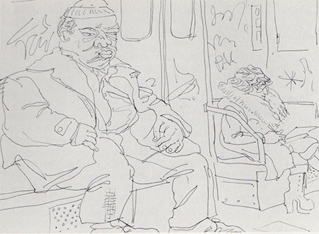 "Sketch for ""Subway"", 1976, 18""x24"", photograph by Robert E. Mates, courtesy Marlborough Gallery, New York"