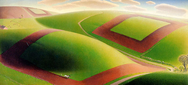 """Sping Turning"" oil on masonite, 1936.  This landscape of tractors tilling fields in preparation of spring planting shows vividly Wood's use of geometric shapes.  The artist was well known, and his paintings were in great demand by the time he painted this."