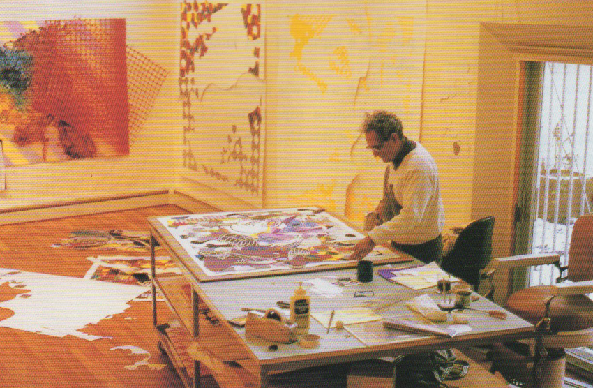 """Frank Stella working on his """"Moby Dick Deckle Edges"""" project in his Manhattan Studio"""