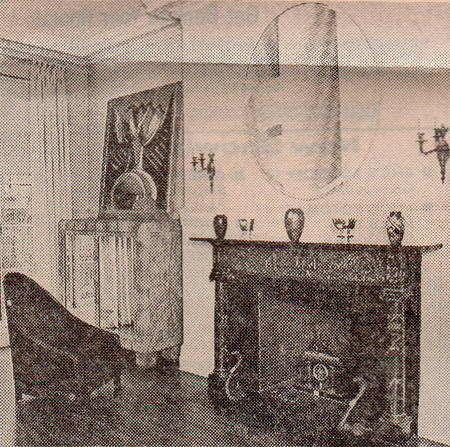 "Warhol's art deco sitting room with Roy Lichtenstein's ""Mirror,"" 1971, over the mantle and Man Ray's ""Peinture Feminine,"" 1954."
