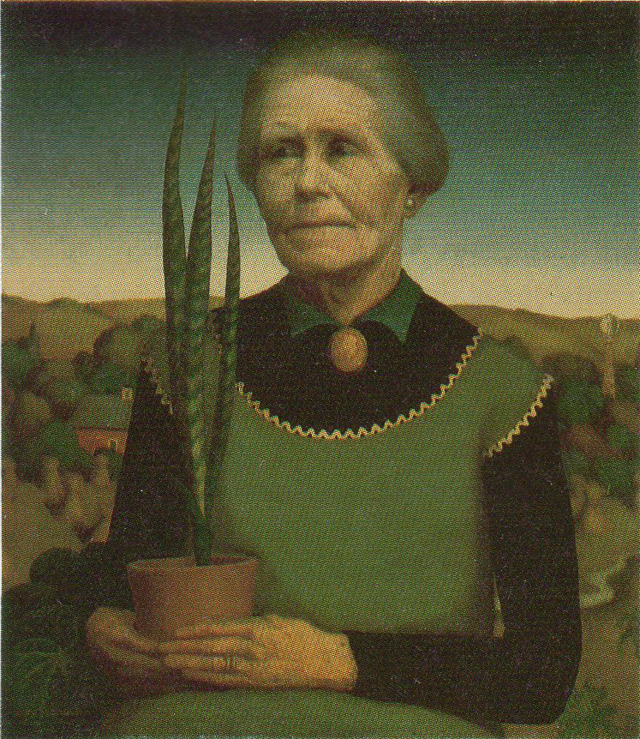 """Woman with Plants"" (1929, oil on composition board).  Wood was still developing his style when he painted this portrait of his seventy-one-year-old mother.  The uninspired landscape elements wilt under the weight of the mother.  She lived with him in his first studio in Cedar Rapids, Number Five Turner Alley (named for his first patron David Turner)."